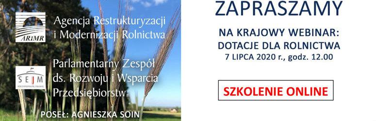 Krajowy webinar pt. DOTACJE DLA ROLNICTWA